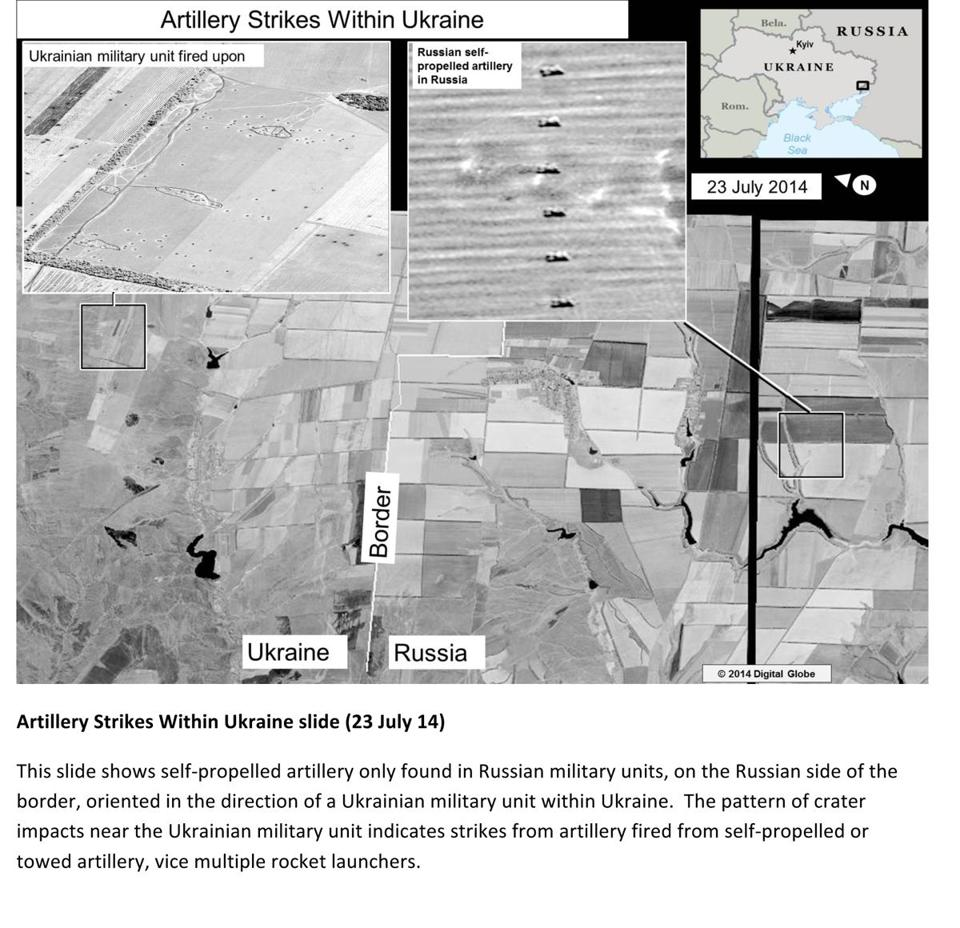 The second page of a document released by the US State Department allegedly shows self-propelled artillery on the Russian side of the border oriented in the direction of Ukraine.
