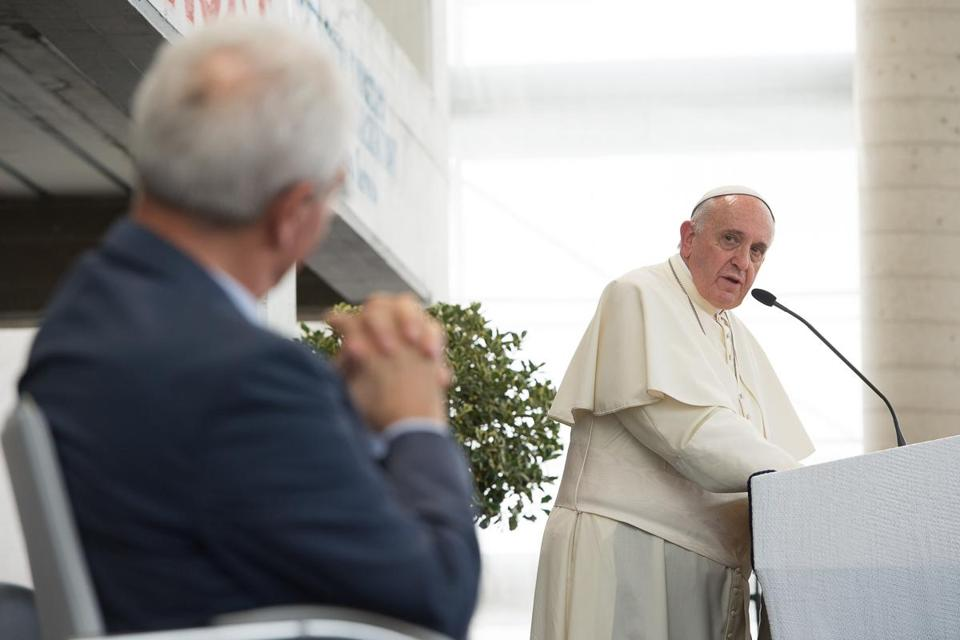 Pope Francis looked at Evangelical Christian pastor Giovanni Traettino during a speech  at the Evangelical church of Reconciliation in Caserta, Italy, on Monday.