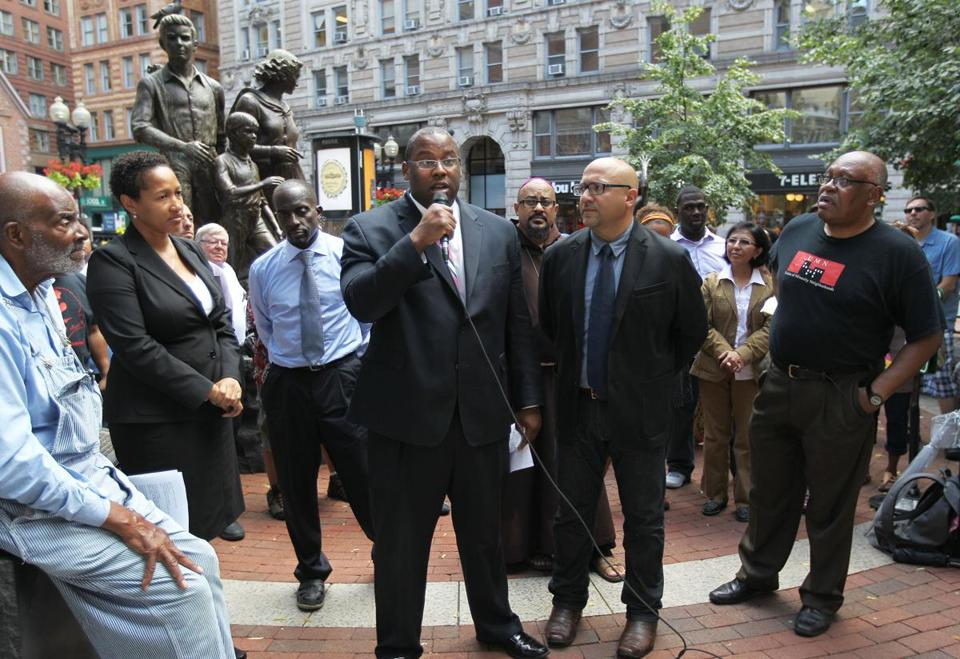 """The question is one of morality,"" Boston City Councilor Tito Jackson said at a gathering at the Irish Famine Memorial downtown."