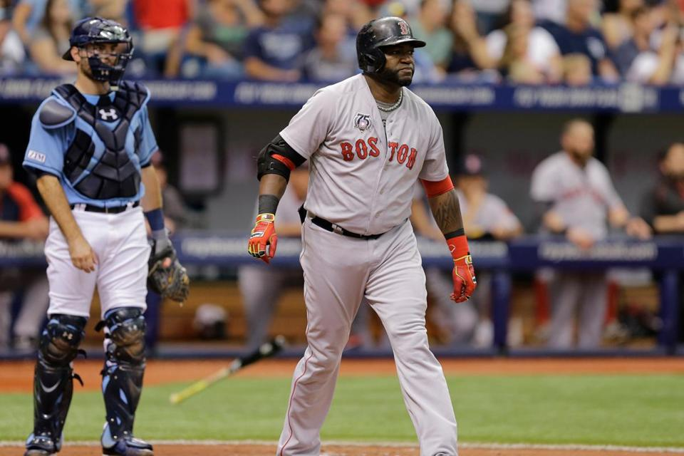 David Ortiz hit a long home run on Sunday against Tampa Bay and flung his bat off to the side and slowly trotted around the bases.