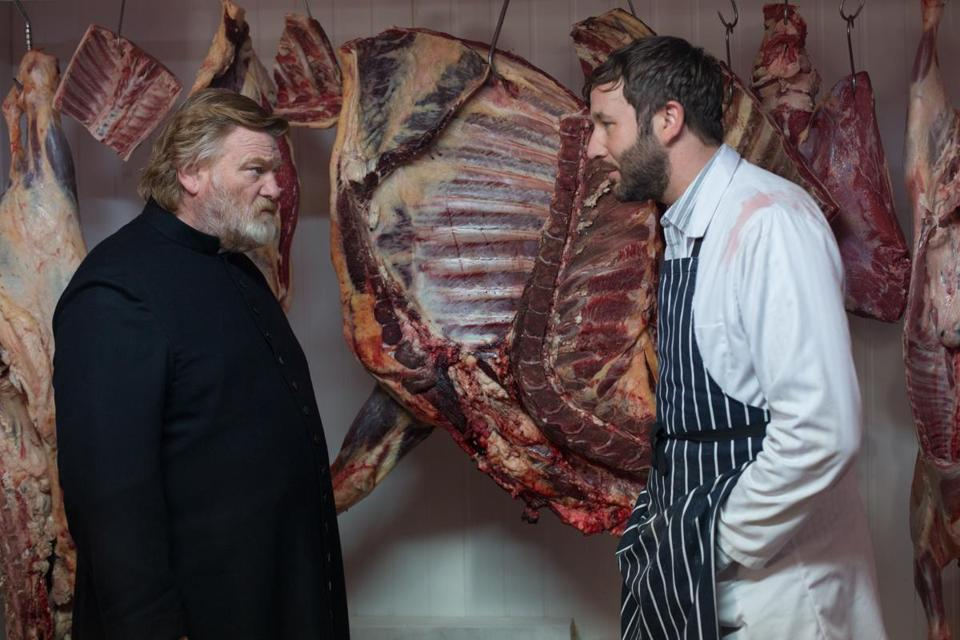 "Brendan Gleeson as ""Father James"" and Chris O'Dowd as ""Jack Brennan"" in in the 2014 Irish film CALVARY, directed by John Michael McDonagh. Photo by Jonathon Hession. Copyright (c) 2014 Twentieth Century Fox."