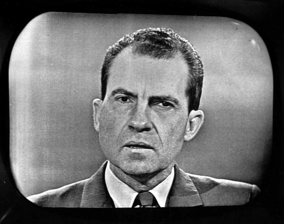 Vice President Nixon is shown on a TV screen at a Chicago television station as he debated presidential rival Senator John F. Kennedy on Sept. 26,1960.