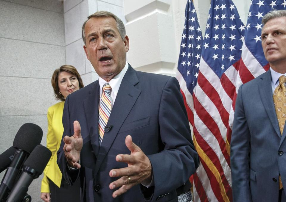House Speaker John Boehner spoke to reporters on Capitol Hill on Tuesday.