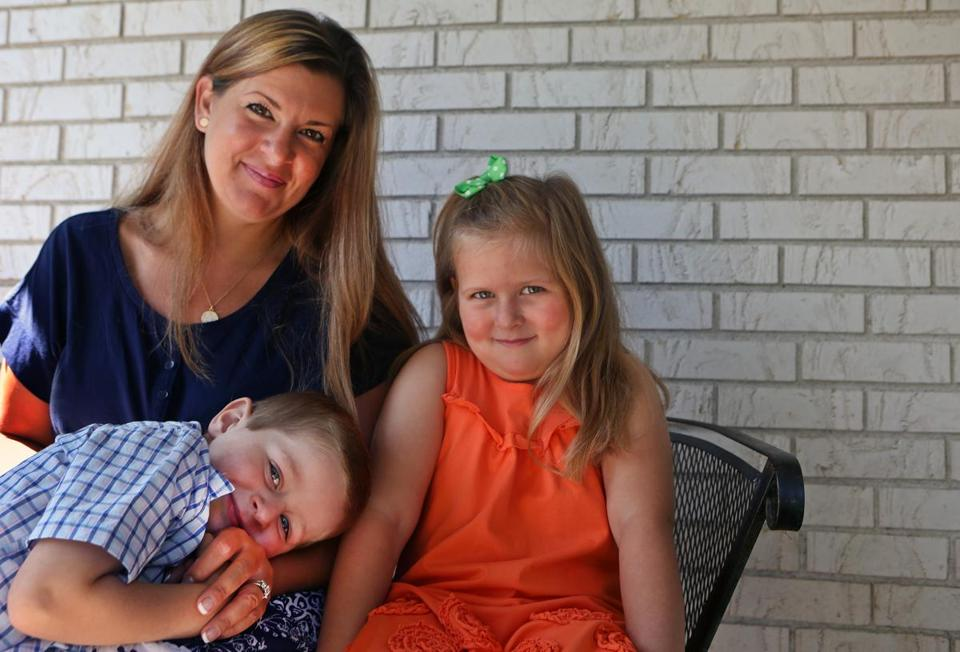 Melanie Turano with Lia  and Nicholas, both of whom have severe combined immunodeficiency.