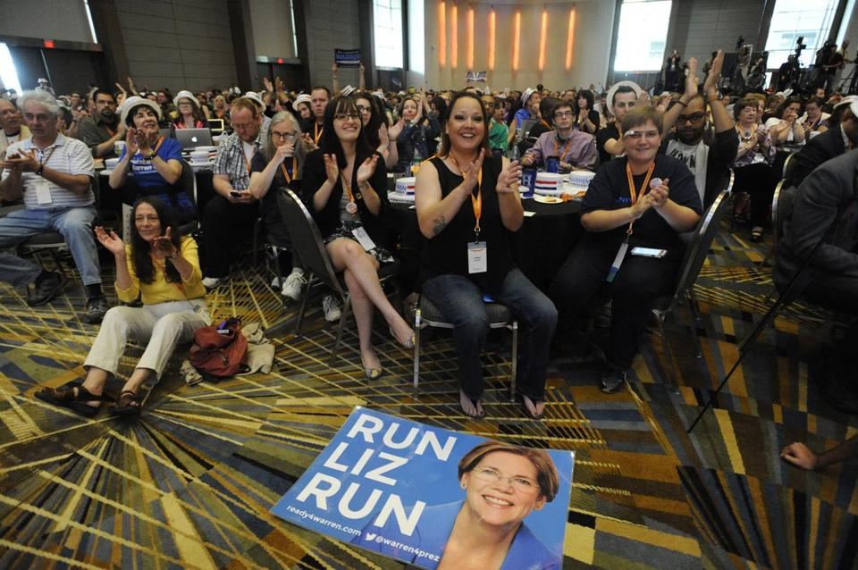 "A ""Run Liz Run"" poster sits on the floor at the Netroots Nation conference in Detroit."