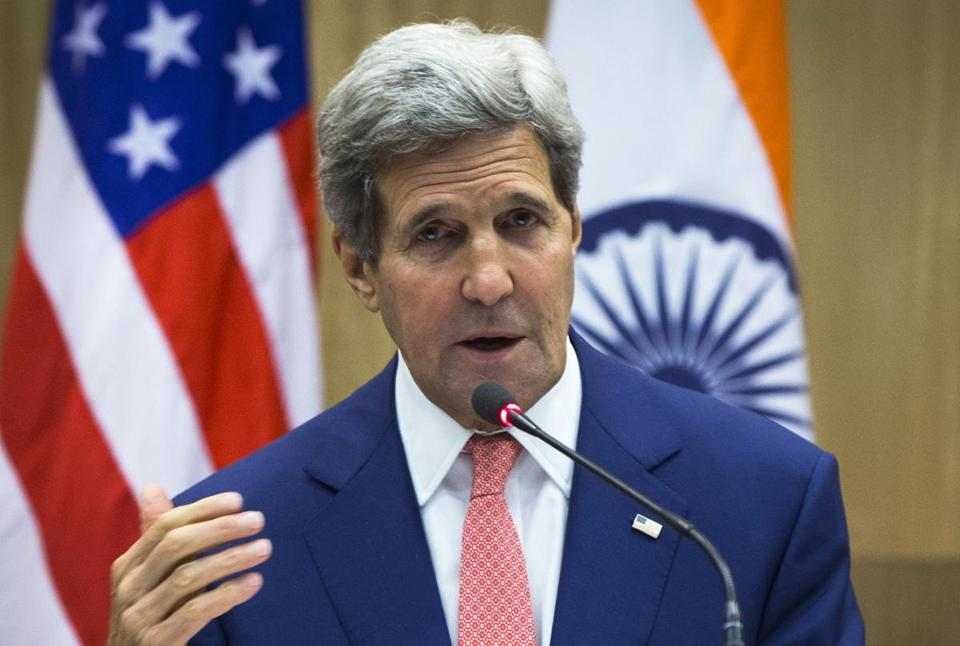 Secretary of State John Kerry spoke during a press conference addressed jointly with Indian Foreign Minister Sushma Swaraj in New Delhi, on Thursday.