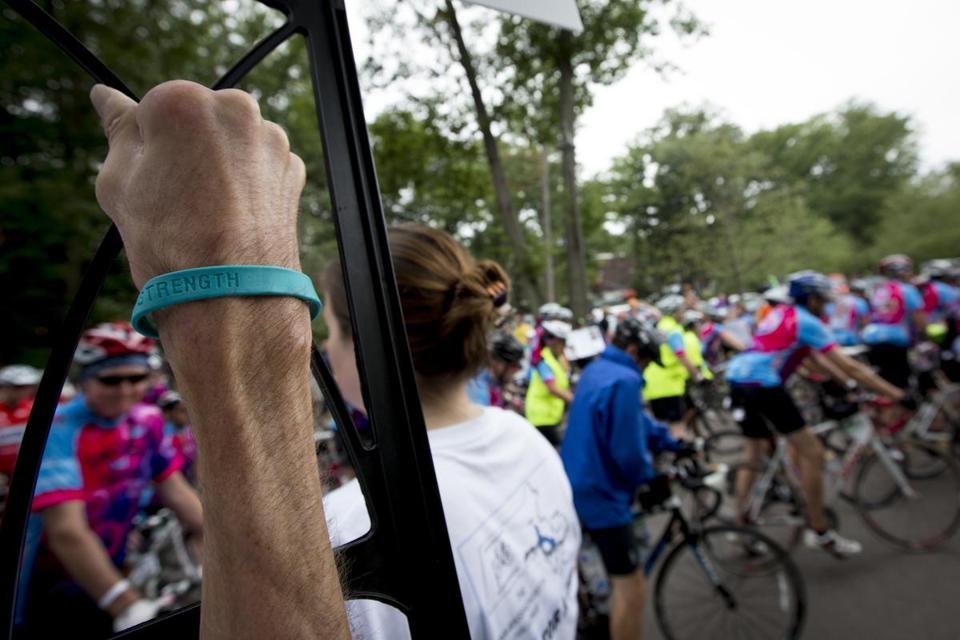 About 2,000 riders in Wellesley on Saturday took off on the Pan-Mass Challenge, which raises money for cancer research.