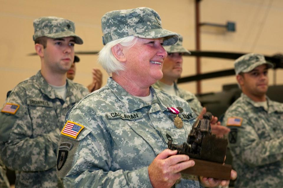 Sergeant 1st Class Mary Reilly-Callahan received the US Army Meritorious Service Medal and a personalized unit award during her retirement ceremony on Saturday.