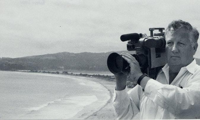 Documentary filmmaker Robert Drew at work in 2002.