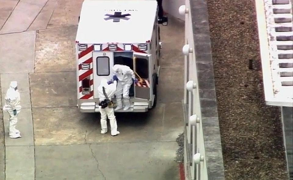 An ambulance transporting Dr. Kent Brantly, who has Ebola, arrived at Emory University Hospital in Atlanta.