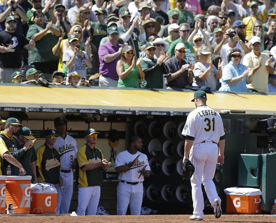 Jon Lester leaves to a standing ovation in Oakland after allowing three runs over 6⅔  innings. (AP Photo/Ben Margot)