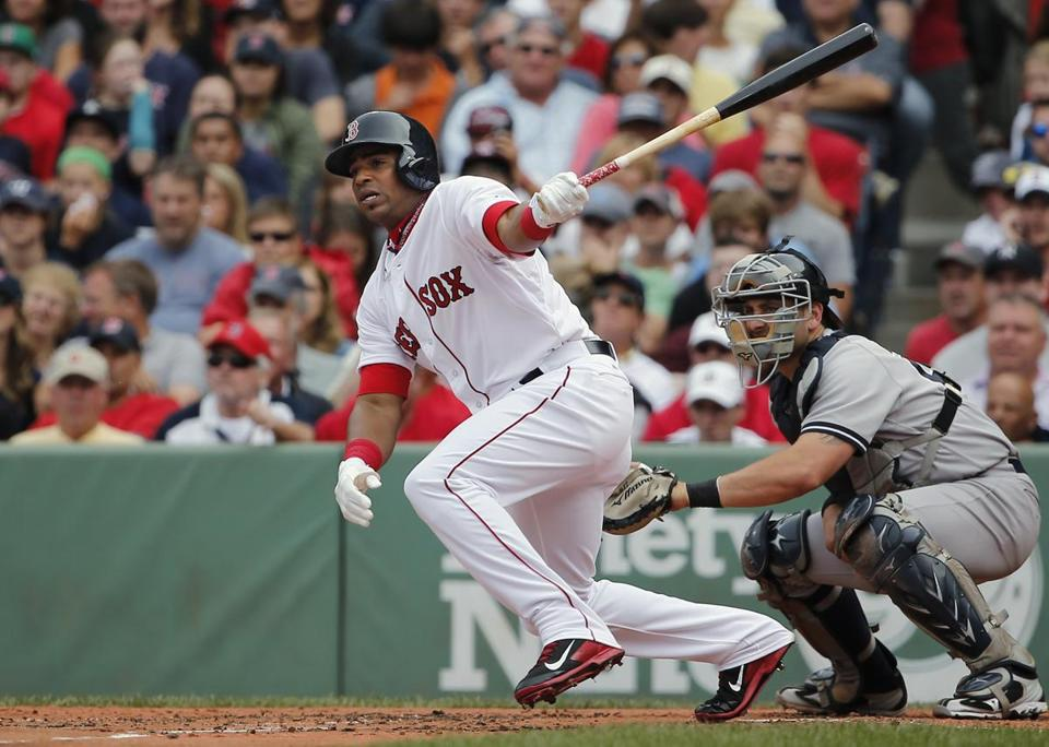 Yoenis Cespedes singled in the second inning, his first at-bat in a Red Sox uniform. (AP Photo/Winslow Townson)