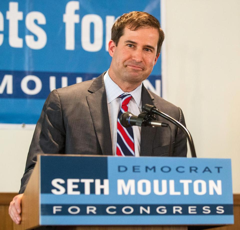 Seth Moulton spoke at a campaign event at the Elks-Peabody Lodge in Peabody Aug. 4.