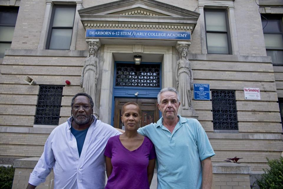 Horace Howard, Nadine Riggs, and Carl Todisco in front of the Dearborn School.
