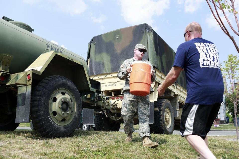 Members of the Ohio National Guard delivered fresh drinking water to residents in Toledo, Ohio.