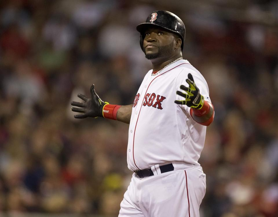David Ortiz reacted after flying out in the seventh inning.