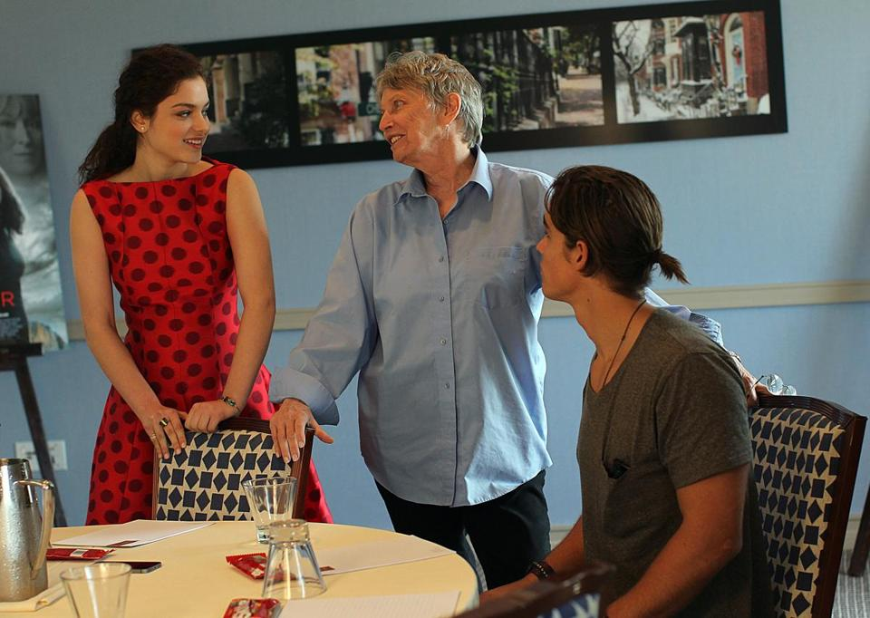 Boston, MA., 08/05/14, Odeya Rush, Lois Lowry, and Brenton Thwaites. The young stars and the writer of The Giver on press tour at Liberty Hotel. Suzanne Kreiter/Globe staff (The Boston Globe.