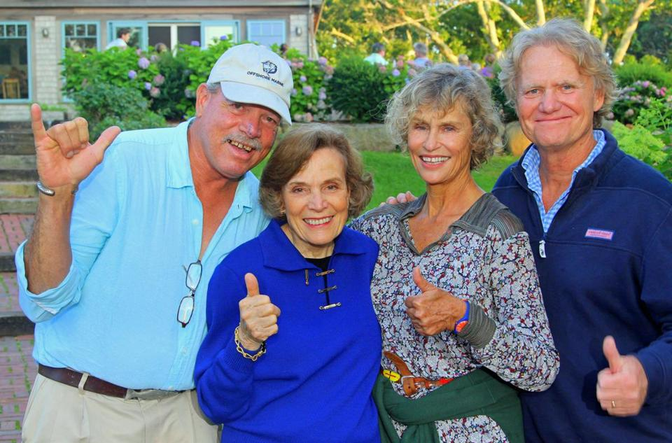 "From left: Buddy Vanderhoop, Sylvia Earle, Lauren Hutton, and Bob Nixon at a reception for ""Mission Blue."""
