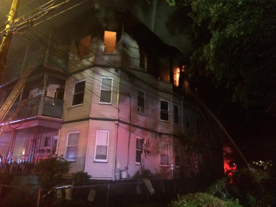 A three-decker on Ash Street in Waltham burned early Wednesday.