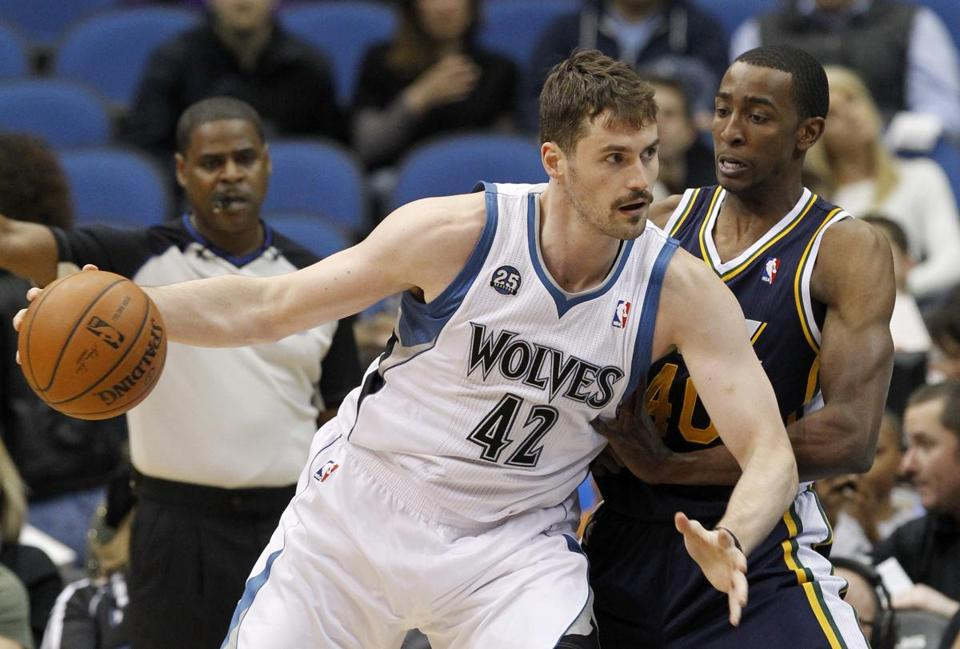 Kevin Love (42) led the Timberwolves in scoring and rebounding, but he couldn't lead them to the playoffs in his six seasons with the team. (AP Photo/Ann Heisenfelt, File)