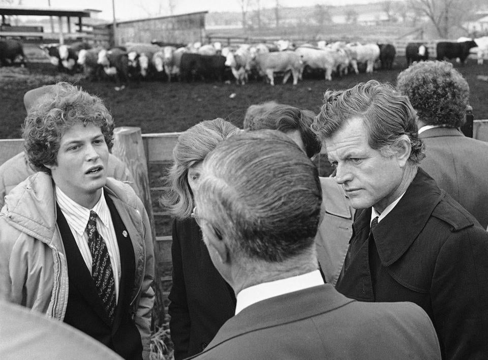 Ted Kennedy Jr. joined his father during a campaign swing through Iowa.