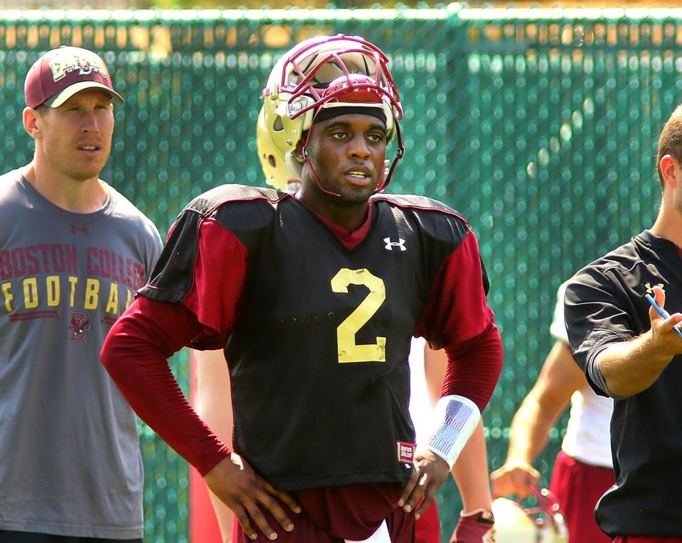 Newton- 08/07/14- The Boston College football team held their practice and media day at the practice field on campus. QB Tyler Murphy takes a break. Boston Globe staff photo by John Tlumacki(sports)