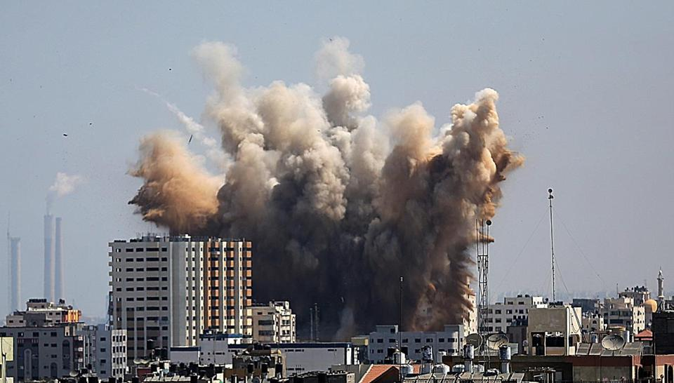 Israeli airstrikes hit northern Gaza City on Friday in response to rocket attacks by Palestinian militants as a three-day truce ended.