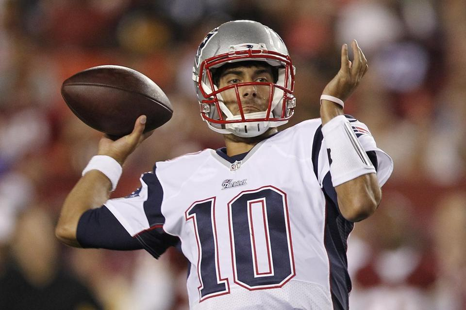 Rookie Jimmy Garoppolo threw for 157 yards and a touchdown in the Patriots' loss to the Washington Redskins in the exhibition opener for both teams. (AP Photo/Connor Radnovich)