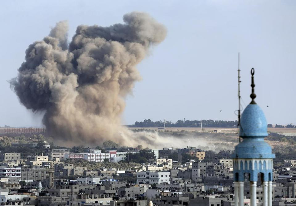 Smoke from an Israeli strike rose over Gaza City Saturday.