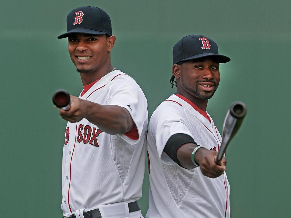 Rookies Xander Bogaerts (left) and Jackie Bradley Jr. have struggled this season.