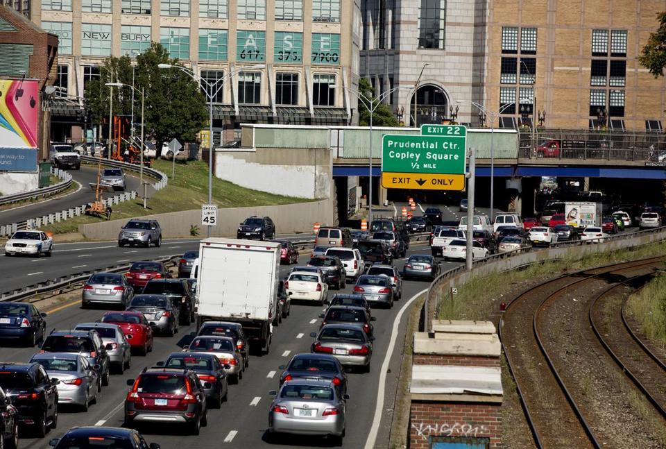 Afternoon traffic on the Mass Pike on Friday, August 8.