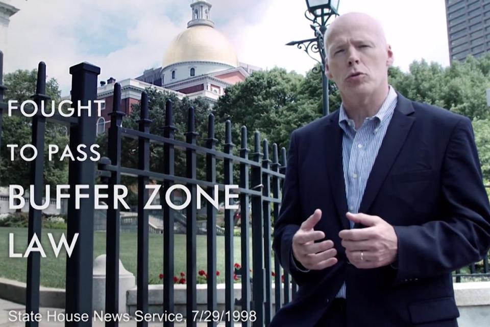 A screen-grab from former state senator Warren Tolman's ad.
