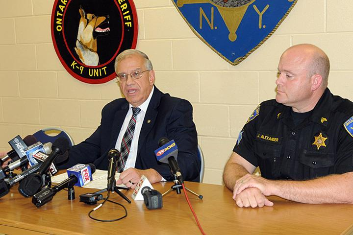 Ontario County Sheriff Philip Povero, left, spoke about the investigation into the death of Kevin Ward Jr. on Sunday.
