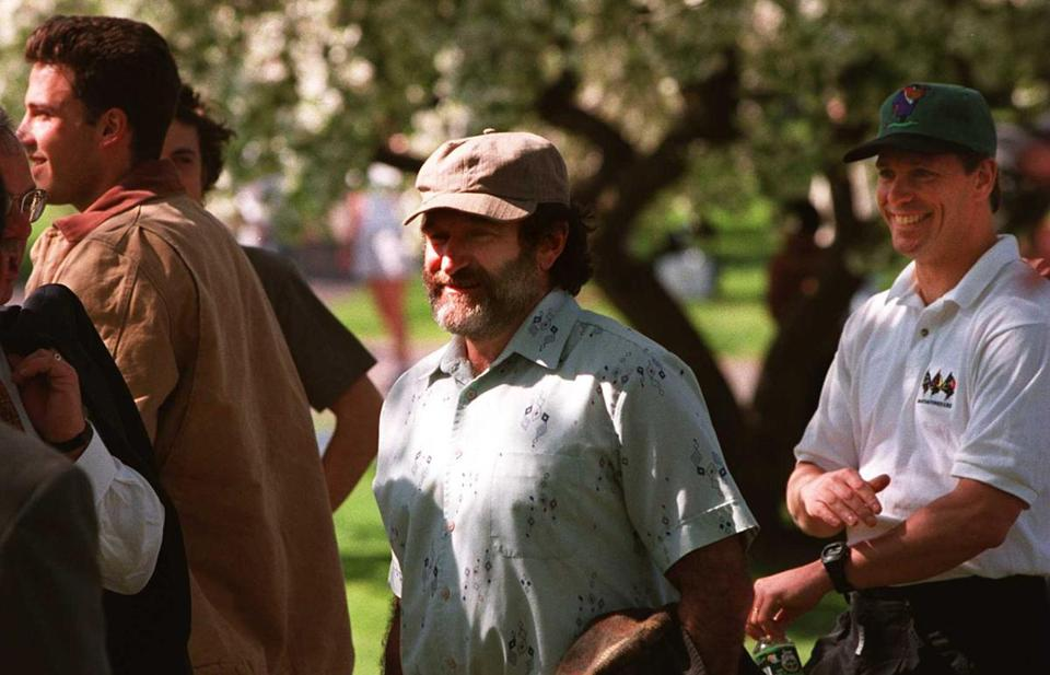 "Williams on the Common, during filming for ""Good Will Hunting."""