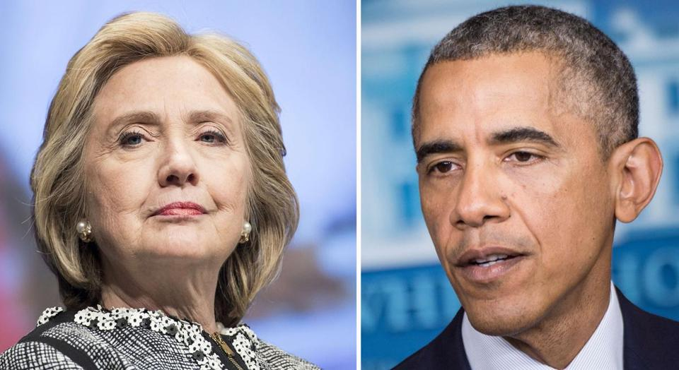 "This combination of file photos shows Former US Secretary of State Hillary Clinton(L) and US President Barack Obama. Hillary Clinton may have distanced herself from President Obama's foreign policy, but he doesn't seem to have taken it personally: the two are due to attend the same soiree on Martha's Vineyard on August 13, 2014. The White House told AFP both the US leader and his wife Michelle were ""very much looking forward to the occasion and seeing former Secretary Clinton."" The First Family is spending their summer vacation on the swanky Massachusetts resort island. Clinton, meanwhile, will be there for a signing of her memoir ""Hard Choices."" AFP PHOTO / FILES / -/AFP/Getty Images"