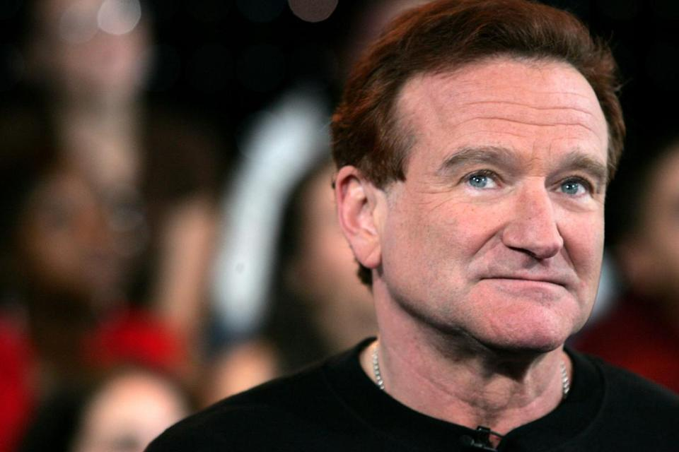 Robin Williams appears onstage during MTV's Total Request Live in New York in 2006.