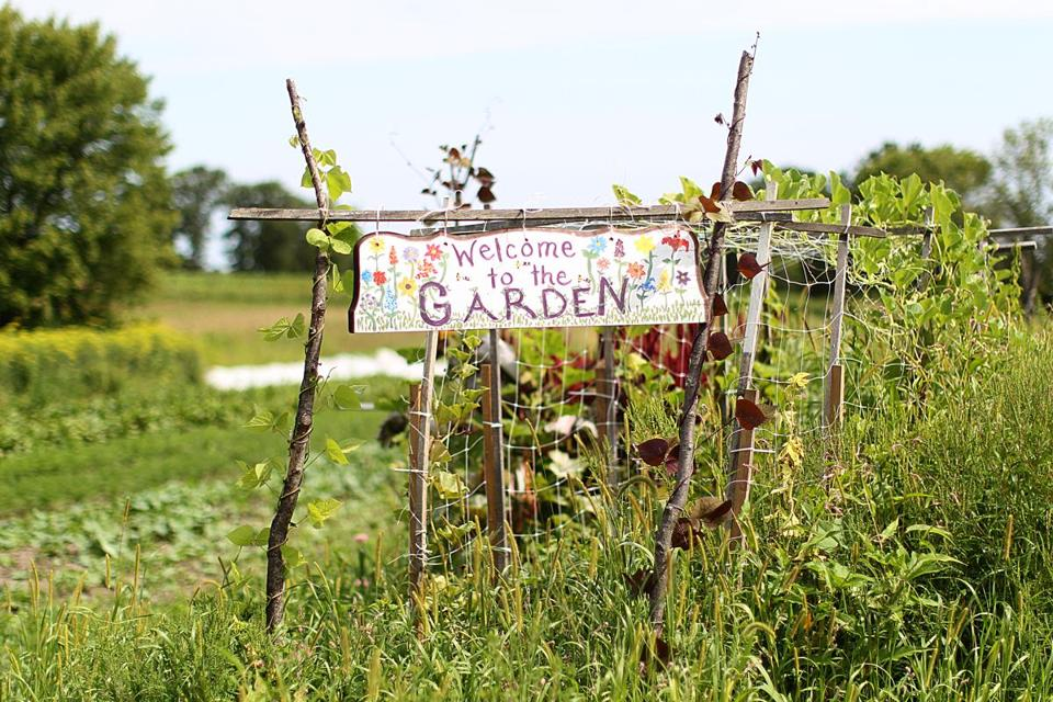 Concord, MA., 08/12/14, A pretty sign at First Root Farm. Laura Olive Sackton owns First Root Farm. Suzanne Kreiter/Globe staff (The Boston Globe.