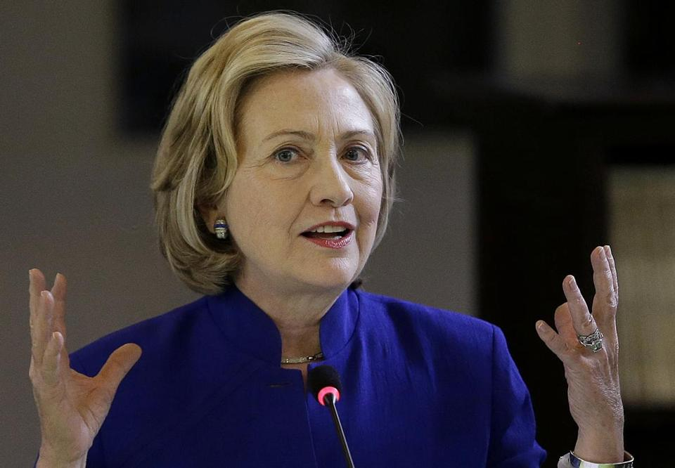 File photo shows former Secretary of State Hillary Rodham Clinton as she speaks at Children's Hospital Oakland Research Institute (CHORI) in Oakland, Calif.