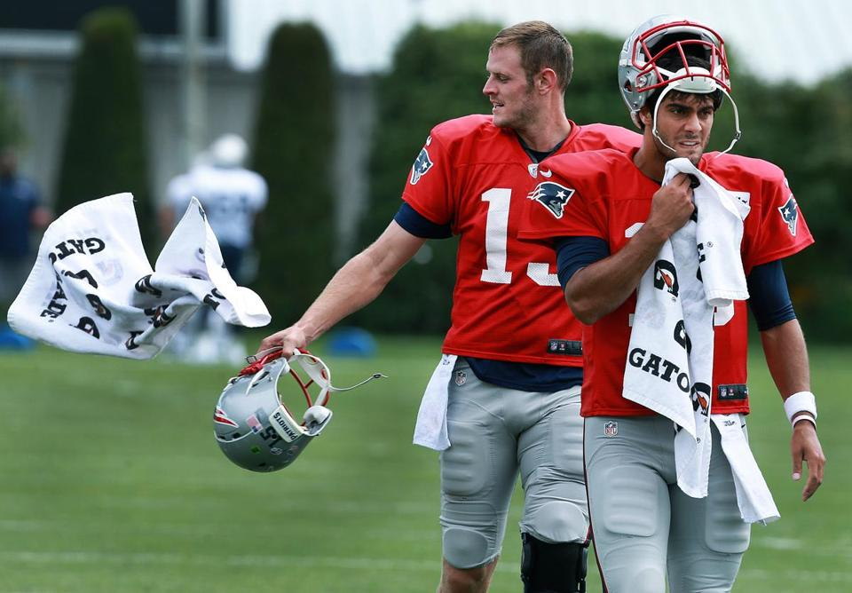 The backup quarterback battle between Ryan Mallett (left) and Jimmy Garoppolo will be an intriguing battle to watch Friday against the Eagles. (Globe Staff Photo/Jim Davis)