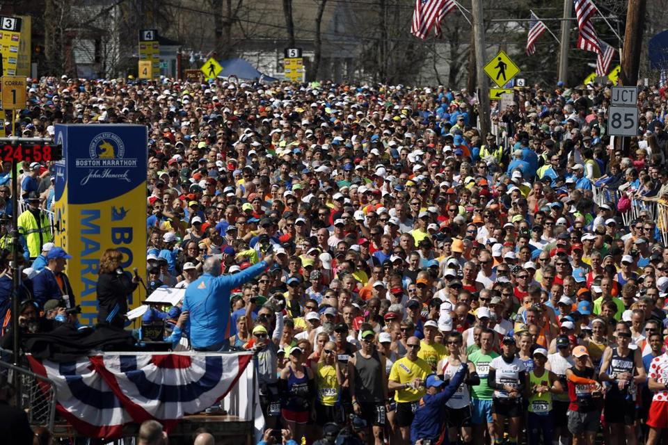 Runners waited for the start of April's Boston Marathon in Hopkinton, part of a field of 36,000 authorized to compete.