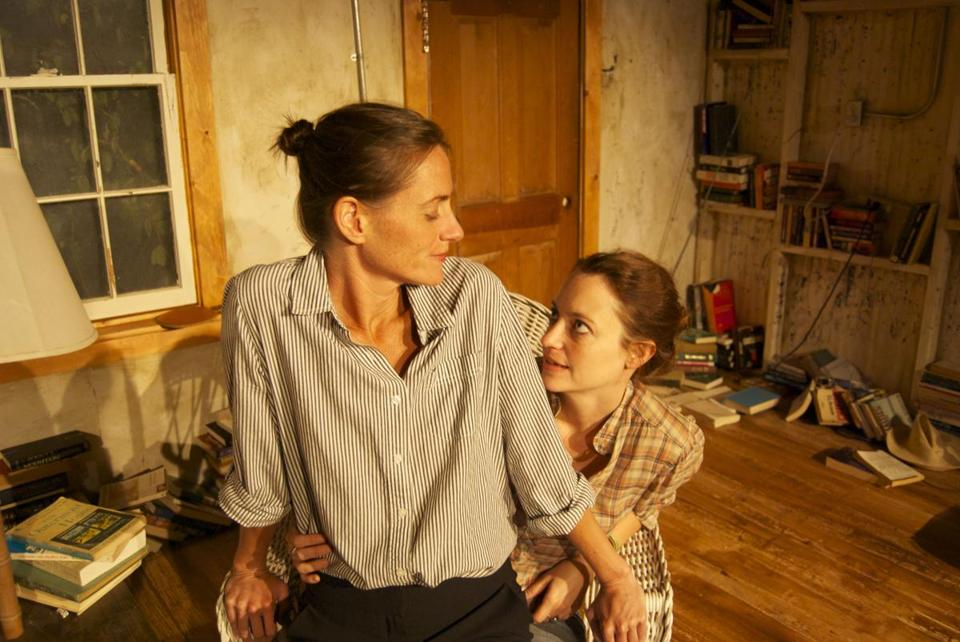 "Brenda Withers (left) and Stacy Fischer in ""Sister Play"" at Harbor Stage Company in Wellfleet."