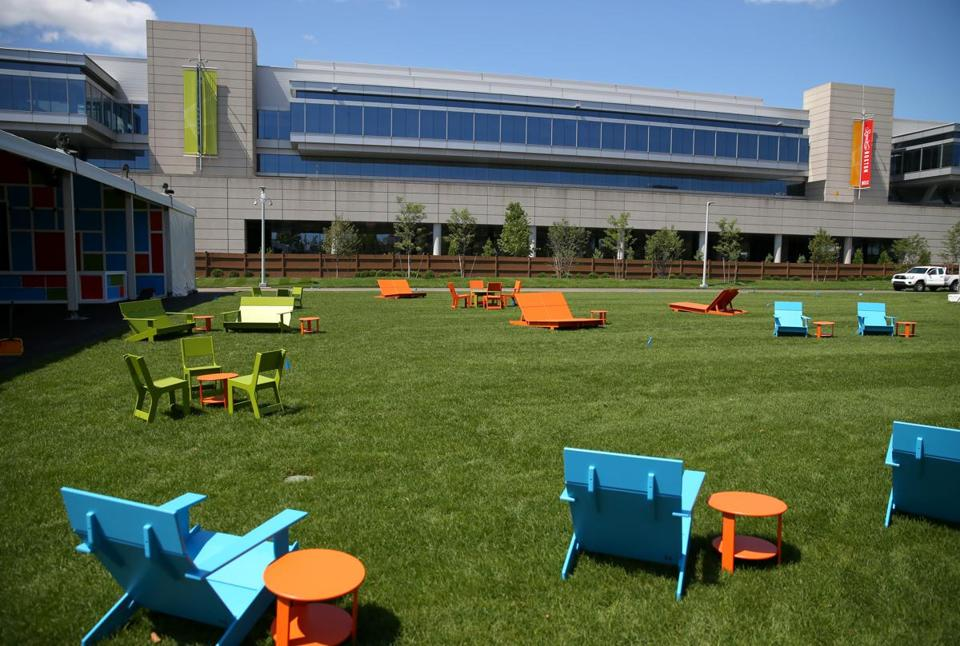 Outdoor furniture awaits the grand opening of the Lawn on D on Saturday.