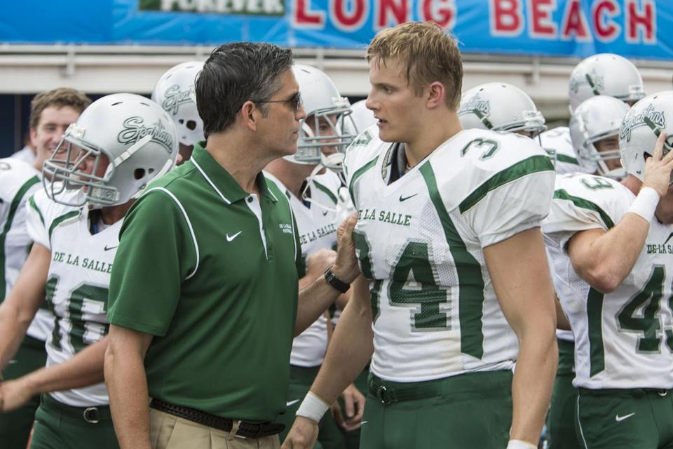 """When the Game Stands Tall"" stars (clockwise, from above) Jim Caviezel and Alexander Ludwig, Laura Dern, and Michael Chiklis."