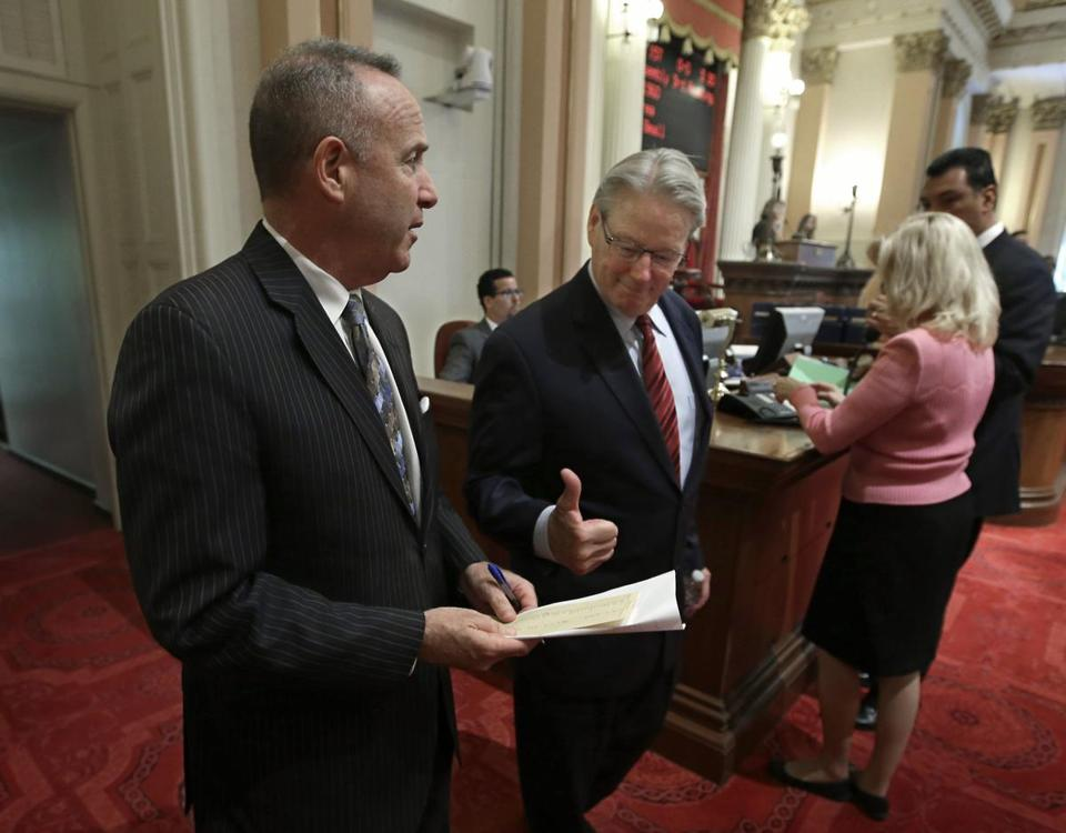 California State Senator William Monning gives Senate President Pro Tem Darrell Steinberg a thumbs up on Wednesday to show his support for a proposed water bond measure.