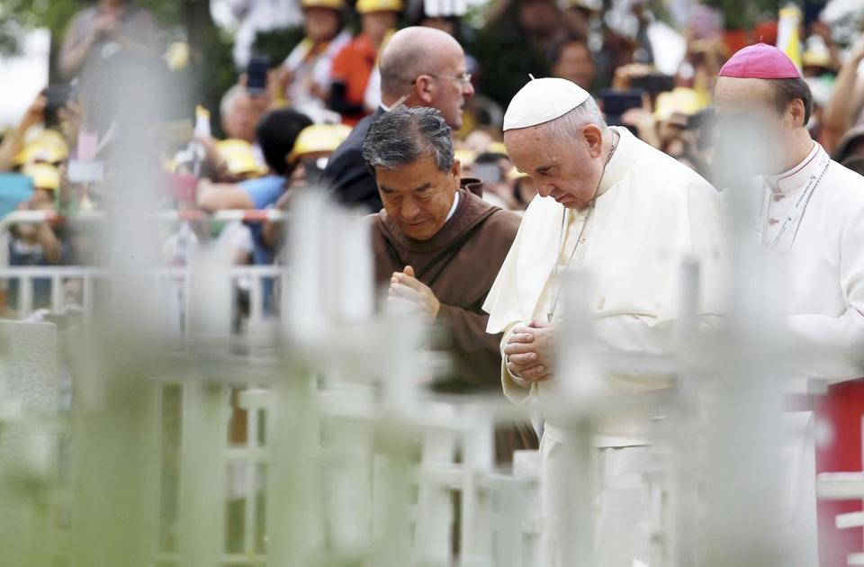 Pope Francis prayed at the site dedicated to unborn children while making a stop in Kkottongnae, South Korea, on Saturday.