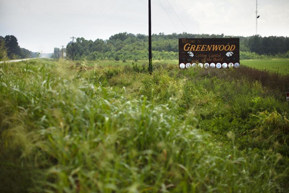 8/10/14 - Greenwood, MS - This sign greets drivers as they roll into Greenwood, MS on Route 7. Topic: 31freedom. Story by Eric Moskowitz/Globe Staff. Dina Rudick/Globe Staff