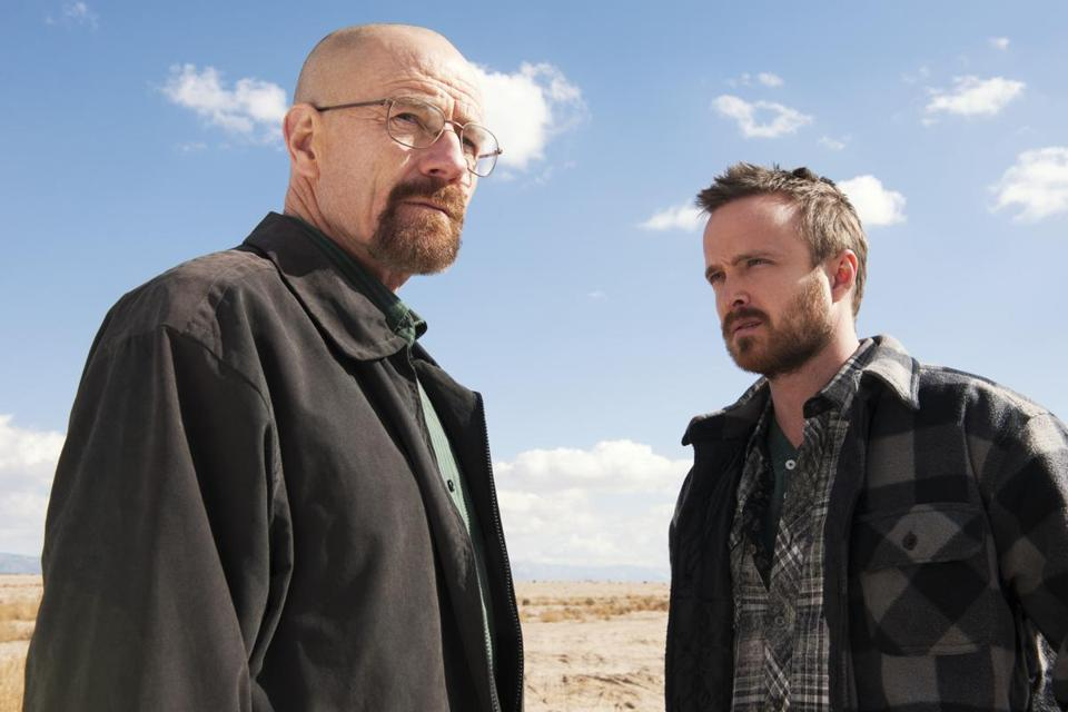"Bryan Cranston as Walter White (left) and Aaron Paul as Jesse Pinkman in a scene from ""Breaking Bad."""