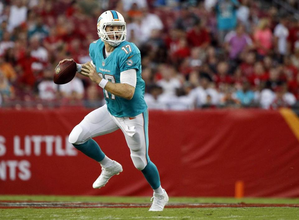 Dolphins quarterback Ryan Tannehill may be running out of the pocket a lot this season.