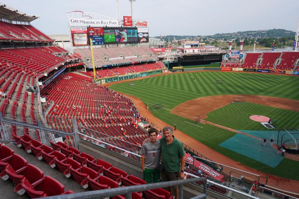 The author and his son Jasper at Great American Ball Park in Cincinnati.