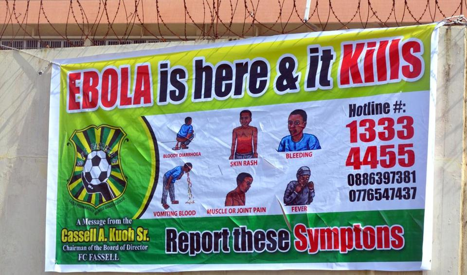 An Ebola information billboard displayed a medical center in Monrovia, Liberia.